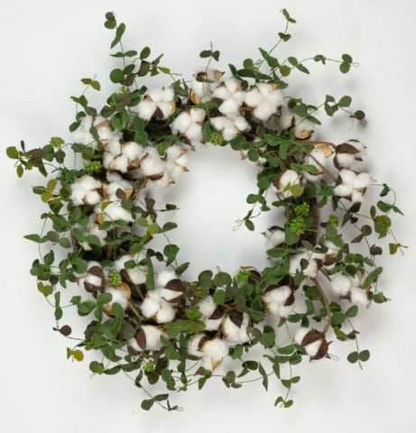 Eucalyptus and Cotton Boll Wreath Faux - 20 Inch