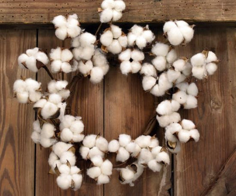 Cotton Boll Wreath Faux - 12 Inch