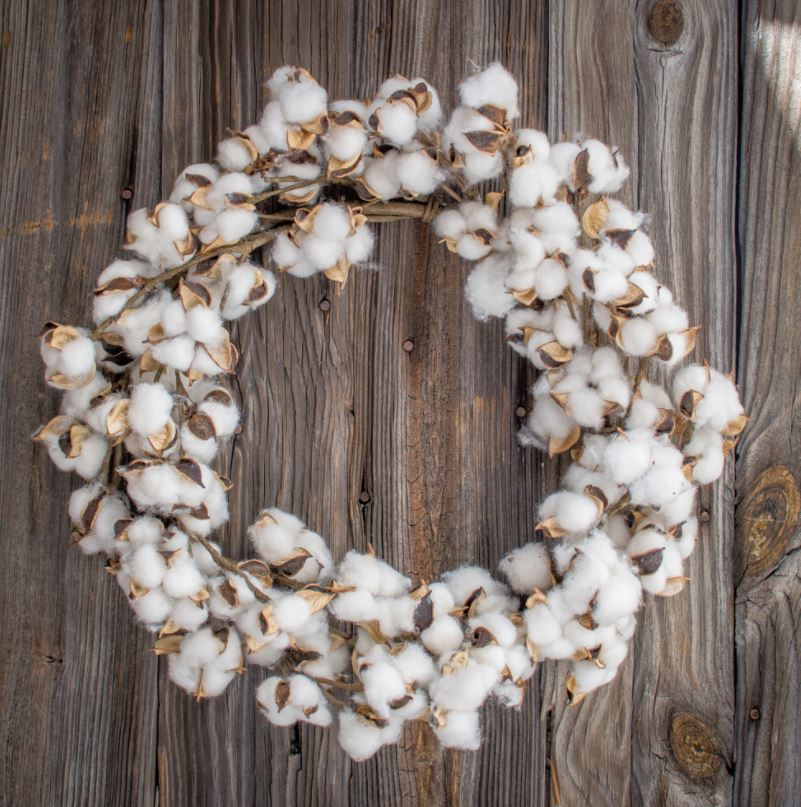 Cotton Boll Wreath Faux - 22 Inch