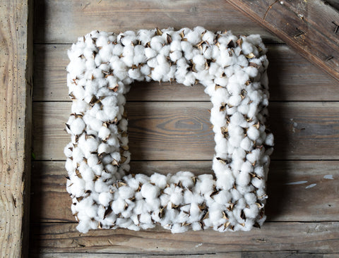 Faux Cotton Boll Square Wreath - 19 Inch