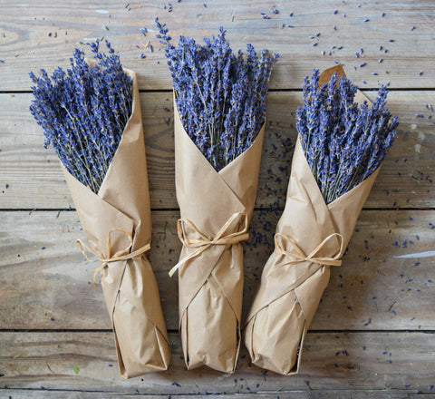 French Lavender - Kraft Paper - Natural Raffia Bow