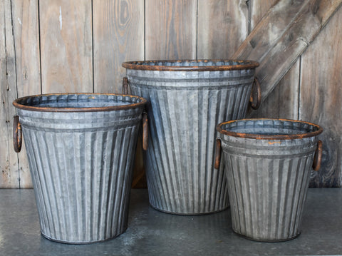 Galvanized Metal Buckets with Handles - Set of Three