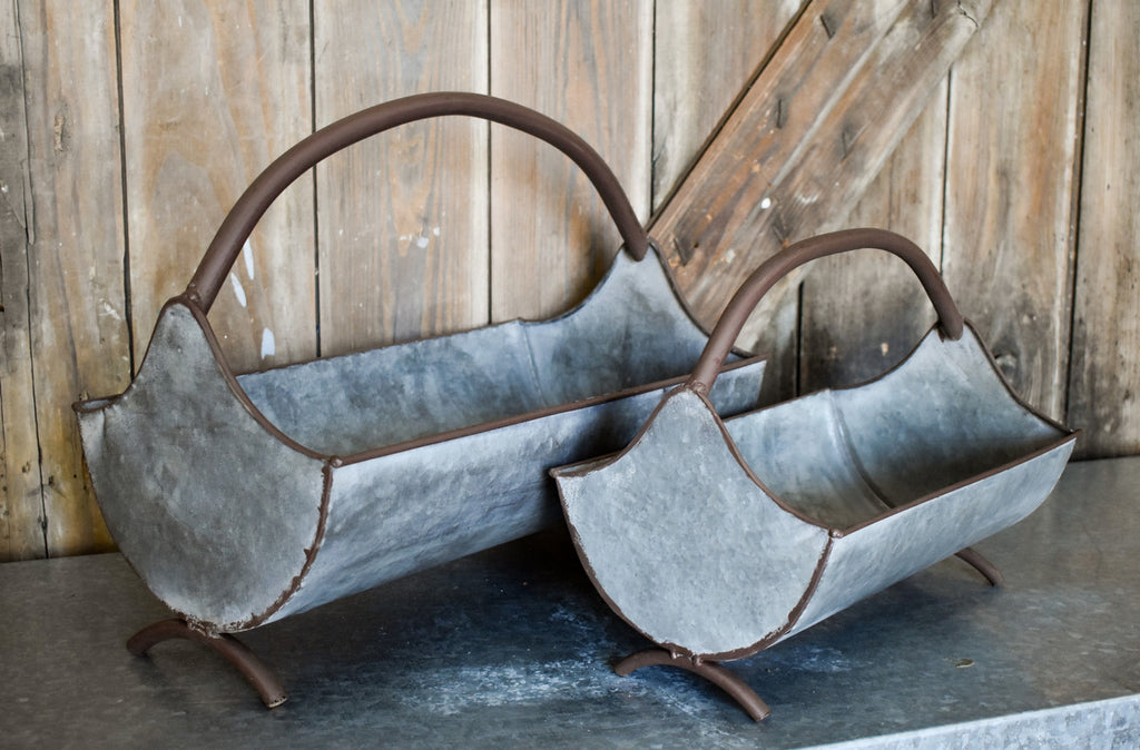 Galvanized Curved Trays - Set of Two