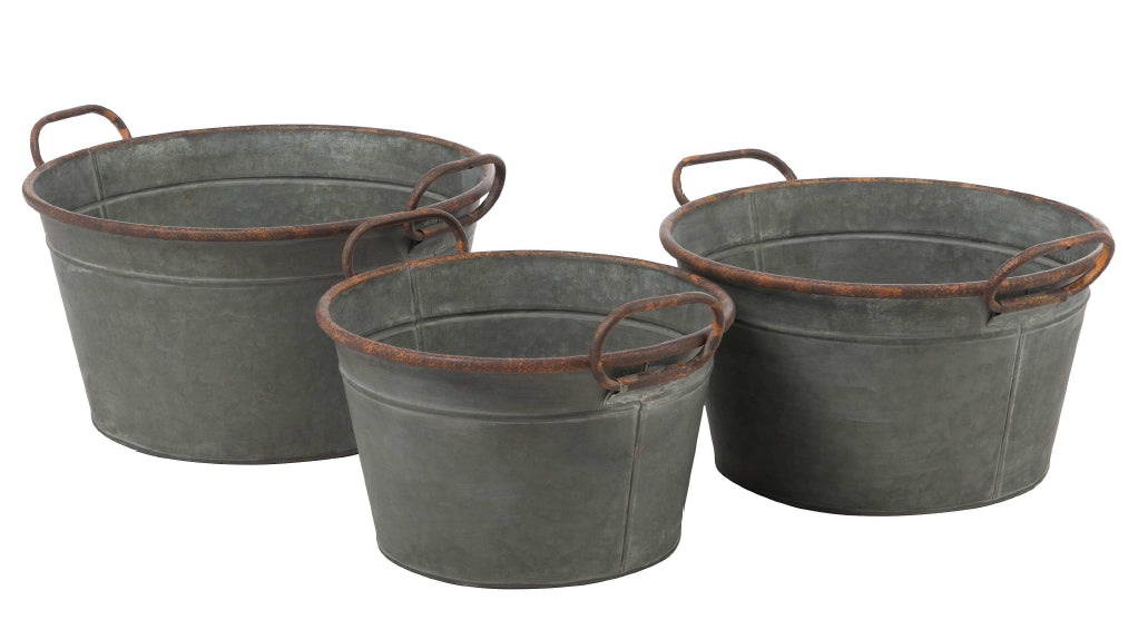 Galvanized Metal Handle Buckets - Set of Three