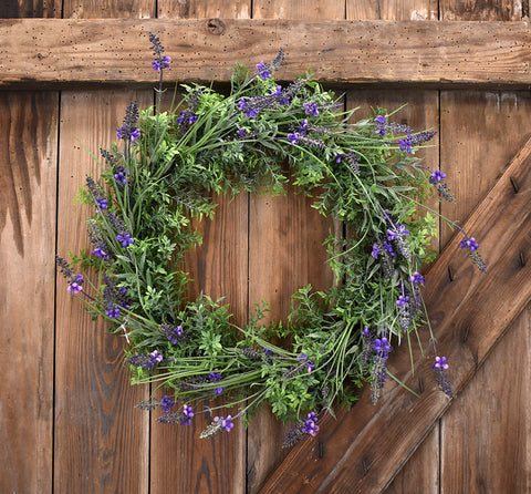 Lavender Wreath Faux - 22 Inches