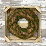 Natural Spruce Pine Cones and Moss Wreath