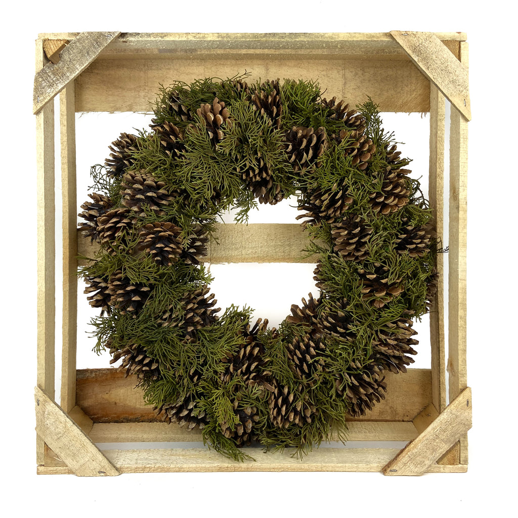 Natural Pine Cone and Evergreen Wreath 19 - Inches
