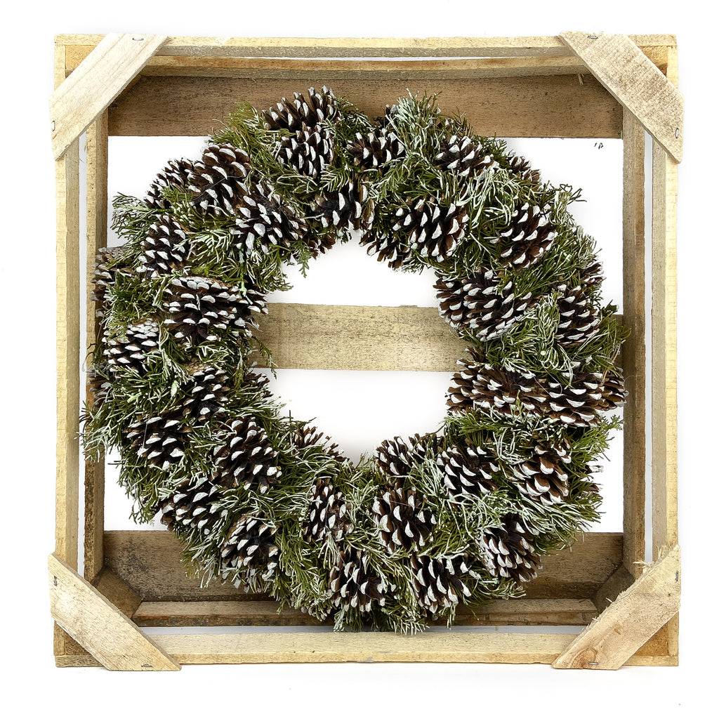 Pine Cone White Tipped and Evergreen Wreath - 19 Inches