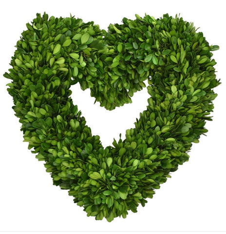 Preserved Boxwood Heart Wreath - 16 Inch