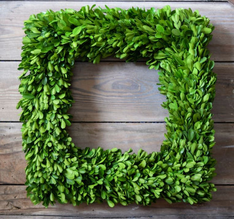 Preserved Boxwood Square Wreath - 16 Inch