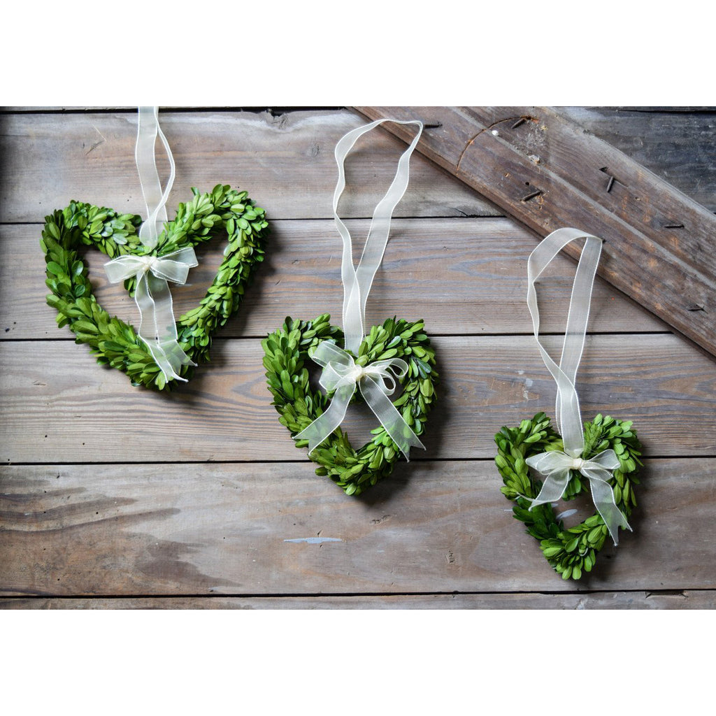 Preserved Boxwood Heart Wreath - 3 Piece Set