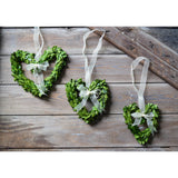 Preserved Boxwood Heart Wreath - 3 Piece Set - Bella Marie