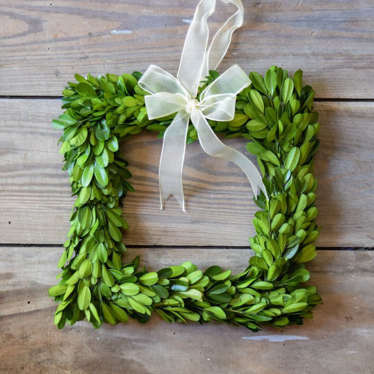 Preserved Boxwood Wreath Square - 8 Inch (Set of 3 Wreaths)