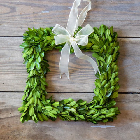 Preserved Boxwood Square - 8 Inch - Set of 3 Wreaths