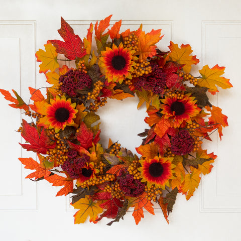 Harvest Sunflower Wreath - 22 Inch