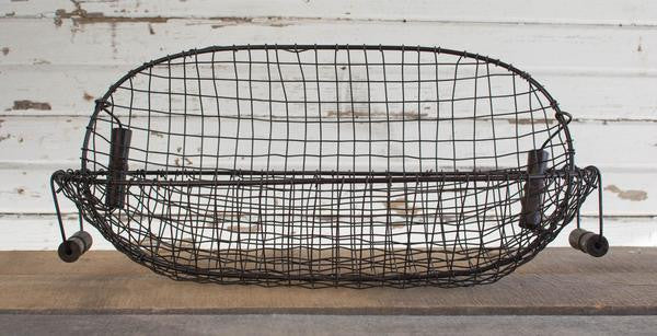 IRON & WOOD OVAL BASKET - SET/2