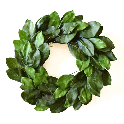 Green Magnolia Wreath - 24 Inch