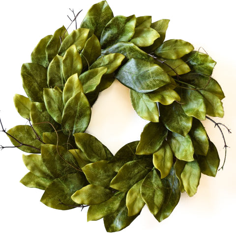 Magnolia Leaf Wreath Southern Green - 22 Inch