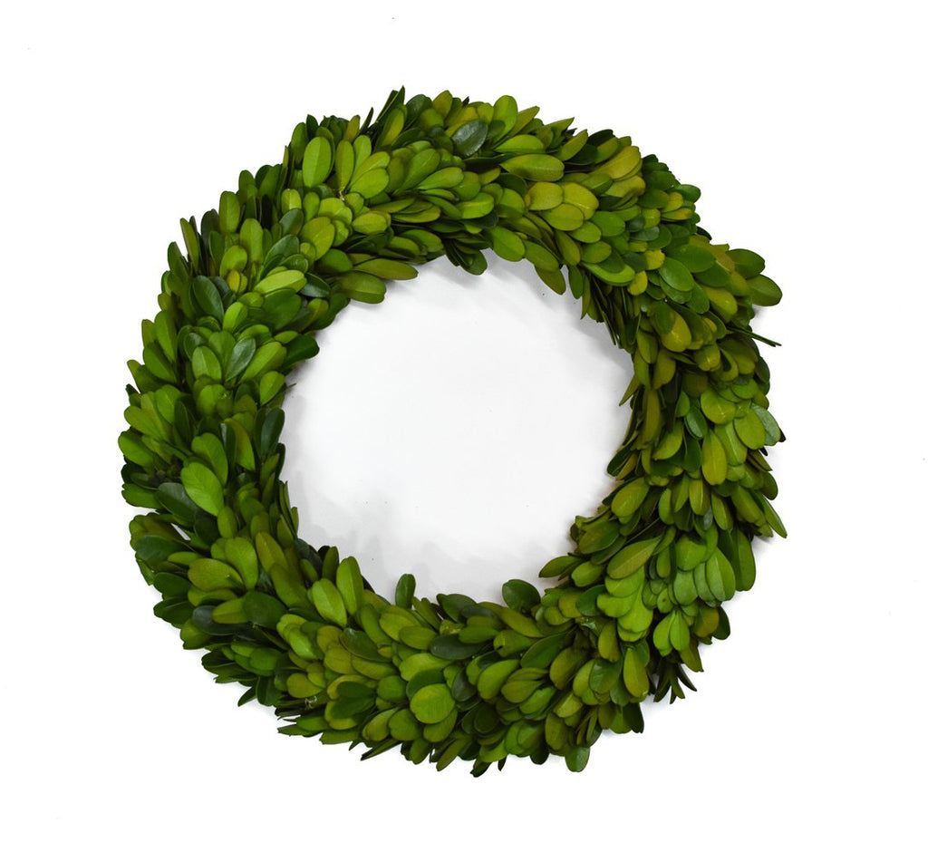 Preserved Boxwood Round Candle Ring - 10 Inch