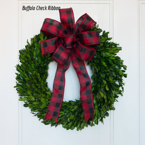 Preserved Boxwood Garden Wreath with Bow - 14 Inch