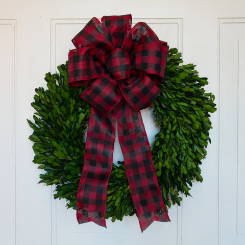 Preserved Boxwood Garden Wreath with Buffalo Check Bow