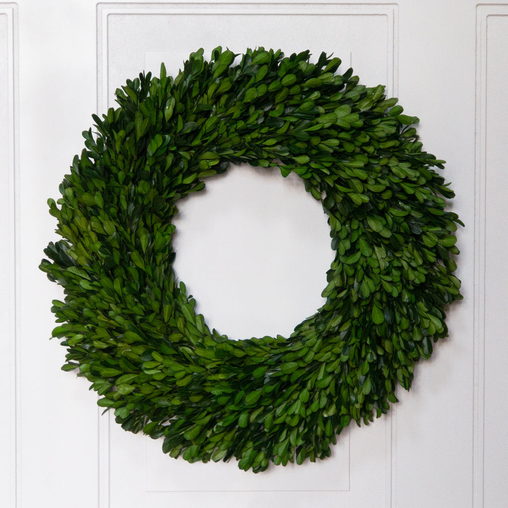 Preserved Boxwood Garden Wreath - 17 Inch