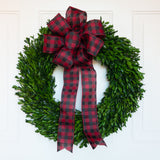 Preserved Boxwood Garden Wreath 22 Inch with Buffalo Check Bow