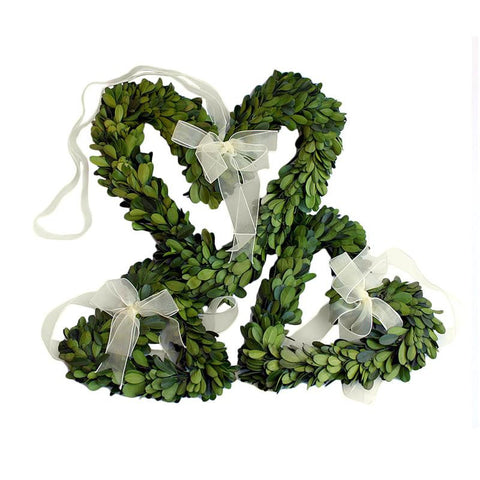 Preserved Boxwood Heart Wreath Set