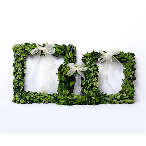 Preserved Boxwood Square Wreath Set