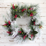Snow Pine Red Berry Wreath - 22 Inch - Bella Marie - 2