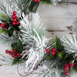 Snow Pine Red Berry Wreath - 22 Inch - Bella Marie - 3