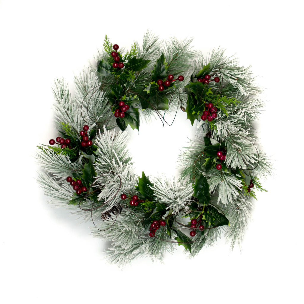 Snow Pine Red Berry Wreath - 22 Inch - Bella Marie - 1