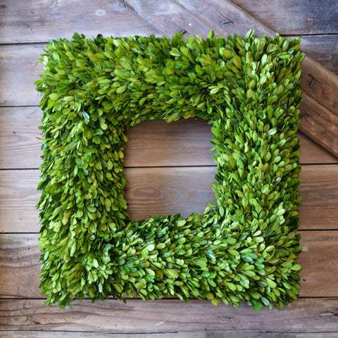 Preserved Boxwood Square Wreath - 20 Inch