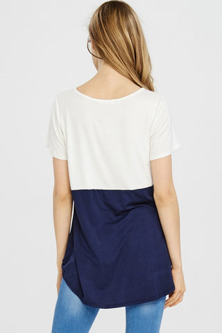Ivory & Navy Twist Front Shirt