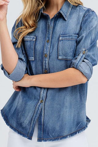 Fringed Denim Shirt