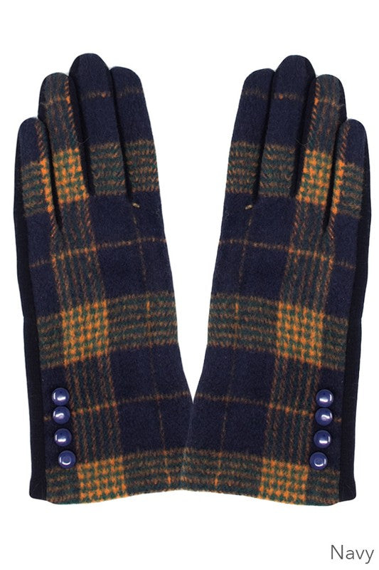 Navy Plaid Smart Touch Gloves
