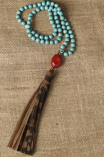 Turquoise Cheetah Tassel Necklace