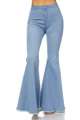Light Wash Frayed Bell Bottom Jeans