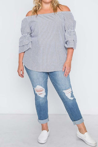 Gray Seersucker Blouse