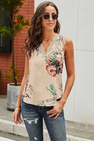 Peach Floral Tank with Lace Trim