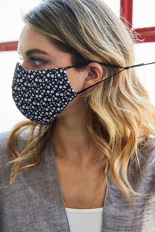 Navy Floral Cotton Masks