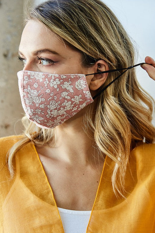 Pink Floral Cotton Masks