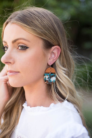 Teal & Wood Earrings