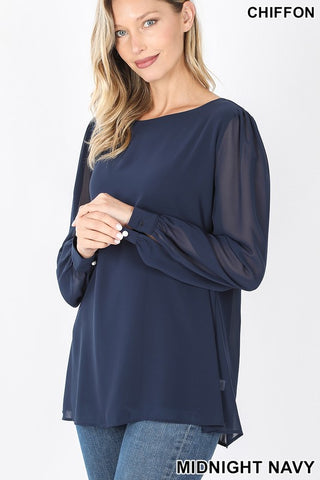 Navy Sheer-ly Chic Blouse