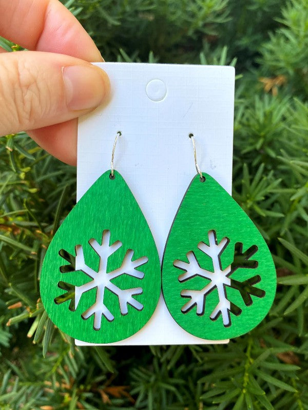 Wood Snowflake Earrings- Green