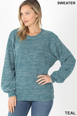 Teal Melange Sweater