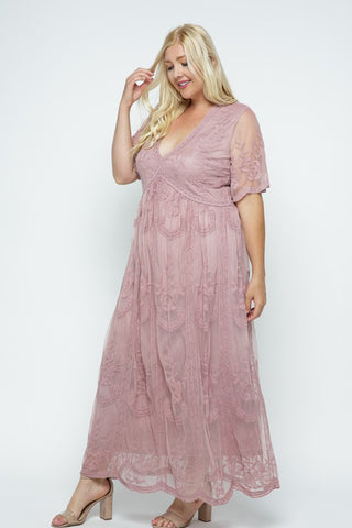 {Plus} Mauve Lace Maxi Dress