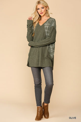 Olive Ribbed Top with Camo Accents