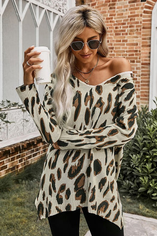 Leopard V-neck Sweater Tunic