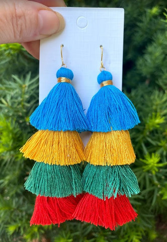 Tassel Fringe Earrings - Blue Mix